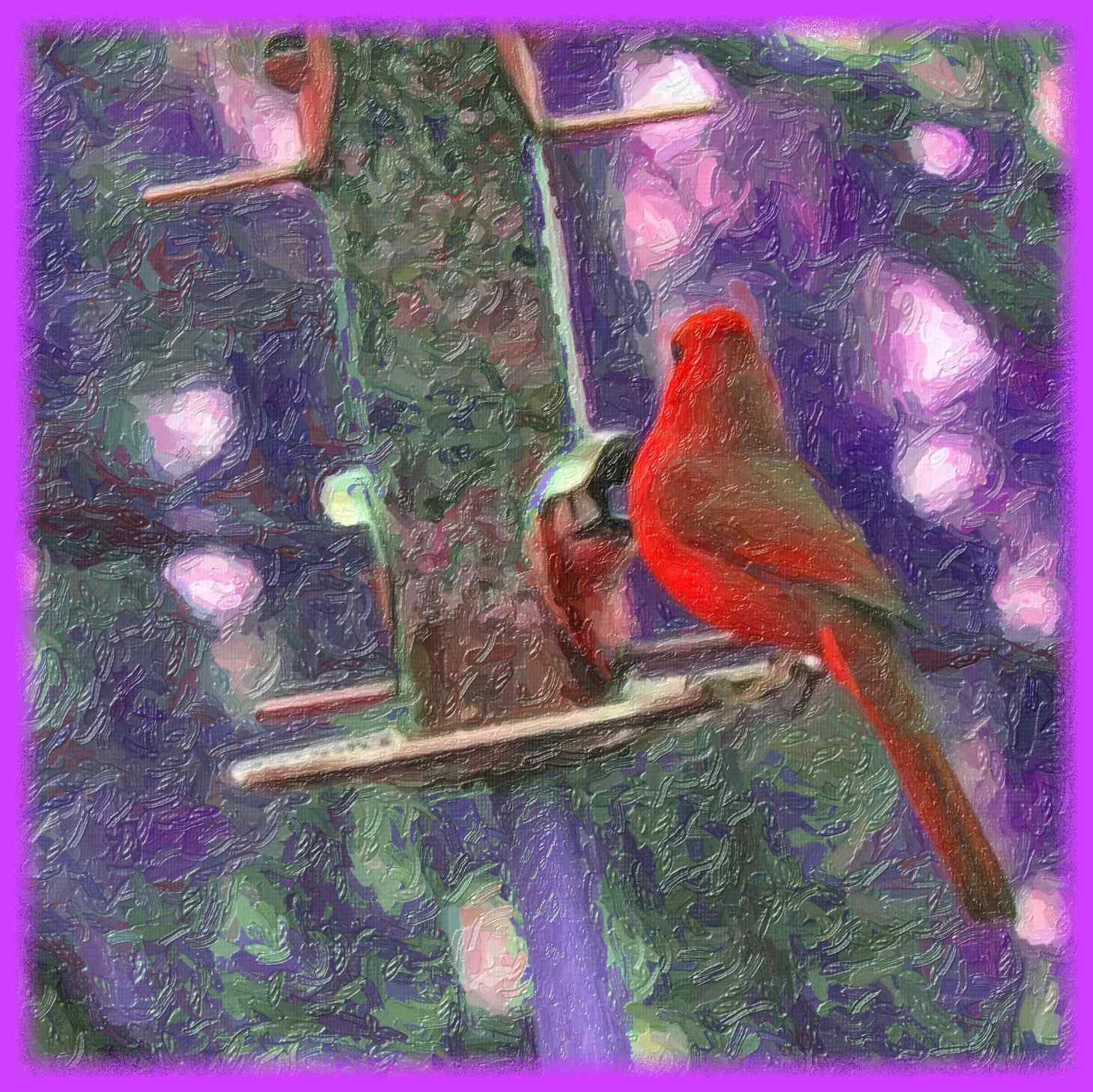 Red Cardinal (2) Ditital Photo Art by Thomas Peace c. 2016