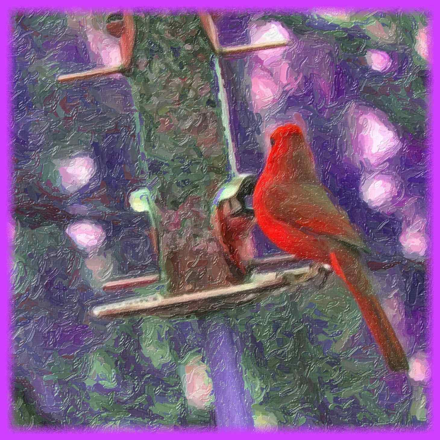Red Cardinal (2) Ditital Photo Art by Thomas Peace c. 2016